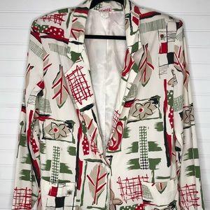 Vintage Claude Blazer Jacket w/ floral/leaf design